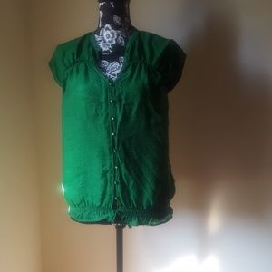 Ann Taylor Loft Green no Sleeve Top Gathered Waist